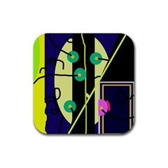 Crazy abstraction by Moma Rubber Square Coaster (4 pack)