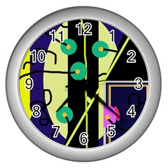 Crazy abstraction by Moma Wall Clocks (Silver)