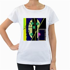 Crazy abstraction by Moma Women s Loose-Fit T-Shirt (White)