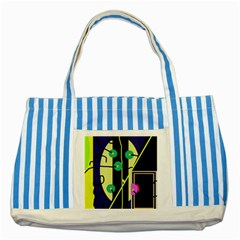 Crazy abstraction by Moma Striped Blue Tote Bag
