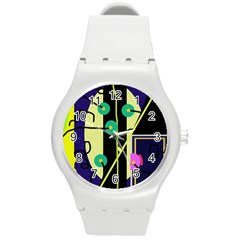 Crazy abstraction by Moma Round Plastic Sport Watch (M)