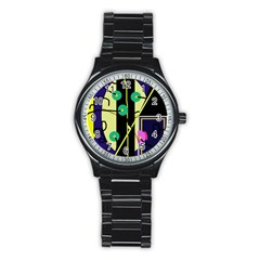 Crazy abstraction by Moma Stainless Steel Round Watch