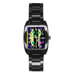Crazy abstraction by Moma Stainless Steel Barrel Watch