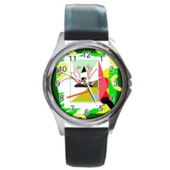 Green abstract artwork Round Metal Watch