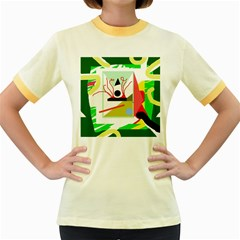 Green abstract artwork Women s Fitted Ringer T-Shirts