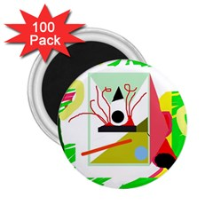 Green abstract artwork 2.25  Magnets (100 pack)