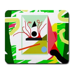 Green abstract artwork Large Mousepads