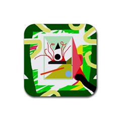 Green abstract artwork Rubber Coaster (Square)