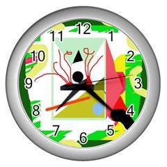 Green abstract artwork Wall Clocks (Silver)