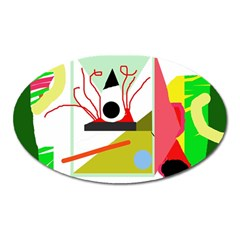 Green abstract artwork Oval Magnet