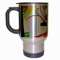 Green abstract artwork Travel Mug (Silver Gray)