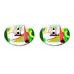 Green abstract artwork Cufflinks (Oval)