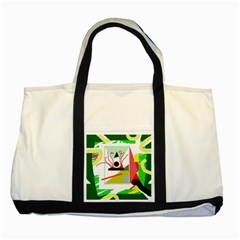 Green abstract artwork Two Tone Tote Bag
