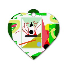 Green abstract artwork Dog Tag Heart (One Side)
