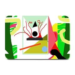Green abstract artwork Plate Mats