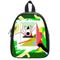 Green abstract artwork School Bags (Small)