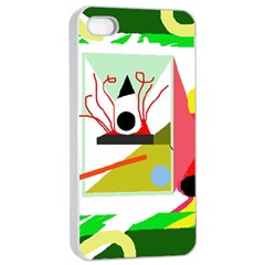 Green abstract artwork Apple iPhone 4/4s Seamless Case (White)