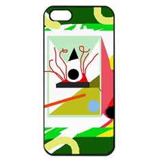 Green abstract artwork Apple iPhone 5 Seamless Case (Black)