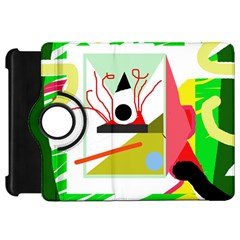 Green abstract artwork Kindle Fire HD Flip 360 Case
