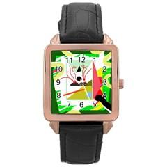 Green abstract artwork Rose Gold Leather Watch