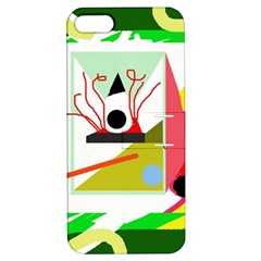 Green abstract artwork Apple iPhone 5 Hardshell Case with Stand