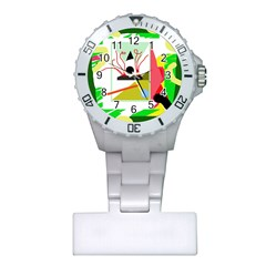 Green abstract artwork Plastic Nurses Watch