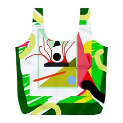 Green abstract artwork Full Print Recycle Bags (L)