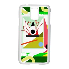 Green abstract artwork Samsung Galaxy S5 Case (White)
