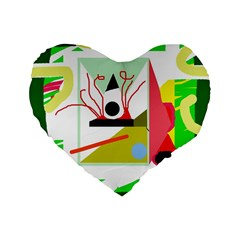 Green abstract artwork Standard 16  Premium Flano Heart Shape Cushions