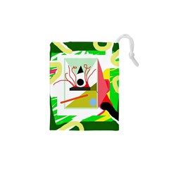 Green abstract artwork Drawstring Pouches (XS)