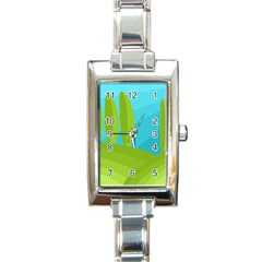 Green and blue landscape Rectangle Italian Charm Watch