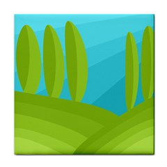 Green and blue landscape Tile Coasters