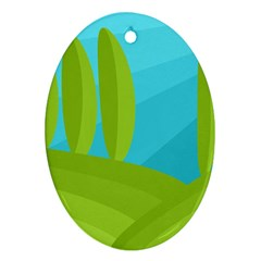 Green and blue landscape Ornament (Oval)