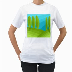 Green and blue landscape Women s T-Shirt (White) (Two Sided)