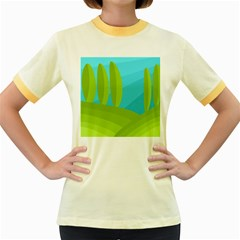 Green and blue landscape Women s Fitted Ringer T-Shirts