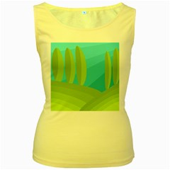 Green and blue landscape Women s Yellow Tank Top