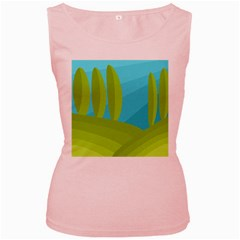 Green and blue landscape Women s Pink Tank Top