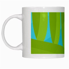 Green and blue landscape White Mugs