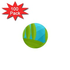 Green and blue landscape 1  Mini Magnets (100 pack)