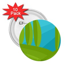 Green and blue landscape 2.25  Buttons (10 pack)