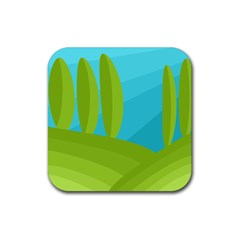 Green and blue landscape Rubber Square Coaster (4 pack)
