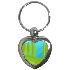 Green and blue landscape Key Chains (Heart)