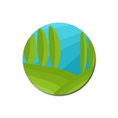 Green and blue landscape Rubber Round Coaster (4 pack)