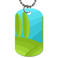 Green and blue landscape Dog Tag (One Side)