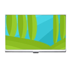 Green and blue landscape Business Card Holders