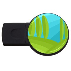 Green and blue landscape USB Flash Drive Round (2 GB)