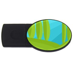 Green and blue landscape USB Flash Drive Oval (1 GB)