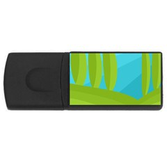 Green and blue landscape USB Flash Drive Rectangular (2 GB)