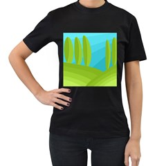 Green and blue landscape Women s T-Shirt (Black) (Two Sided)