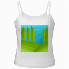 Green and blue landscape Ladies Camisoles